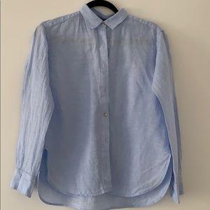Uniqlo blue premium linen shirt